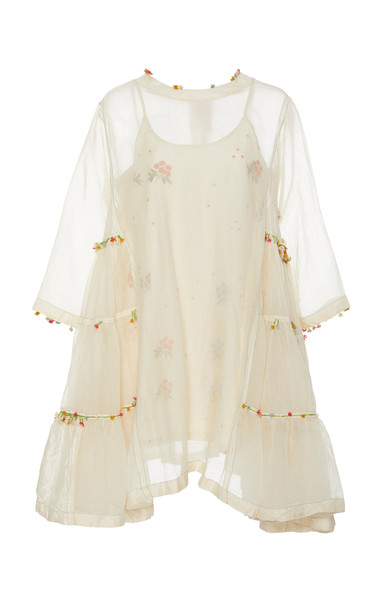 Péro Delicately Embroidered Cotton Dress in white