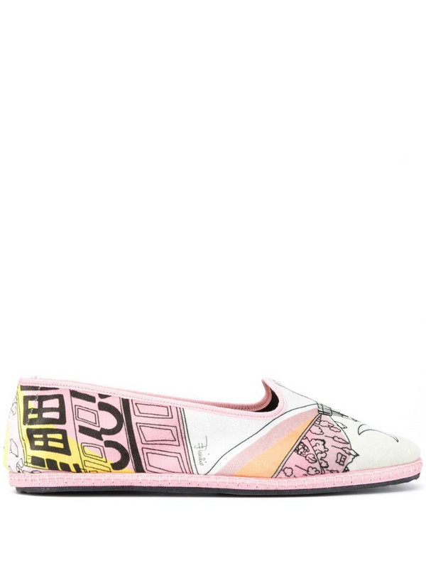 Emilio Pucci printed round toe slippers in pink