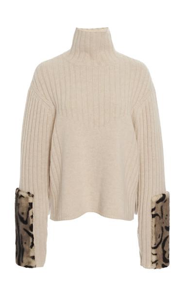 Sally LaPointe Mink Fur-Trimmed Wool-Cashmere Turtleneck in neutral