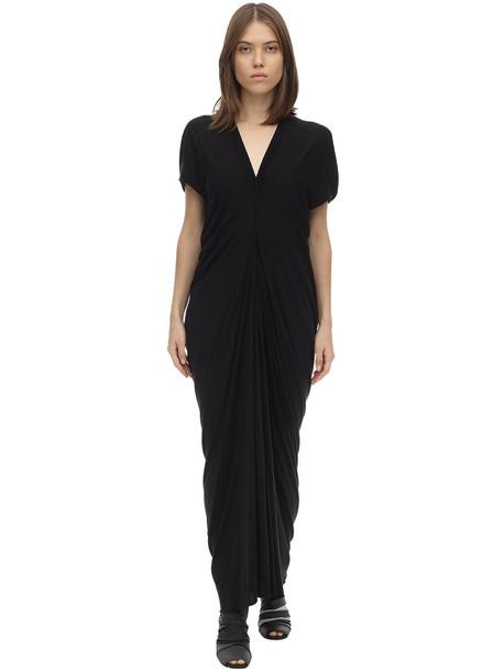 RICK OWENS Rickowenslilies Draped Viscose Dress in black