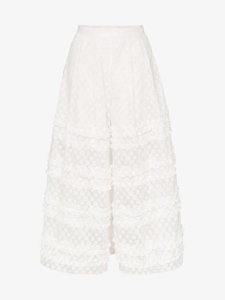Paskal ruffle detail polka dot culotte trousers in white