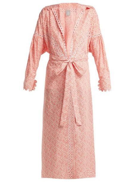 Horror Vacui - Aurelia Leaf Print Cotton Maxi Dress - Womens - Red