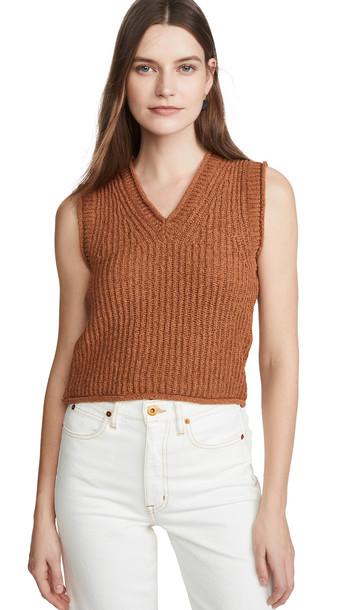 Acne Studios Kandra Rustic Cotton Sweater Vest in brown