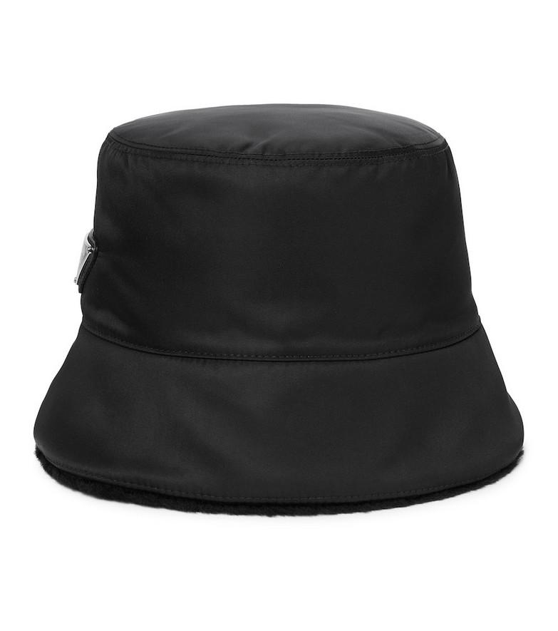 Prada Re-Nylon shearling-lined bucket hat in black