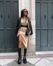 jacket,blazer,midi dress,black boots,slit dress,black bag,belt