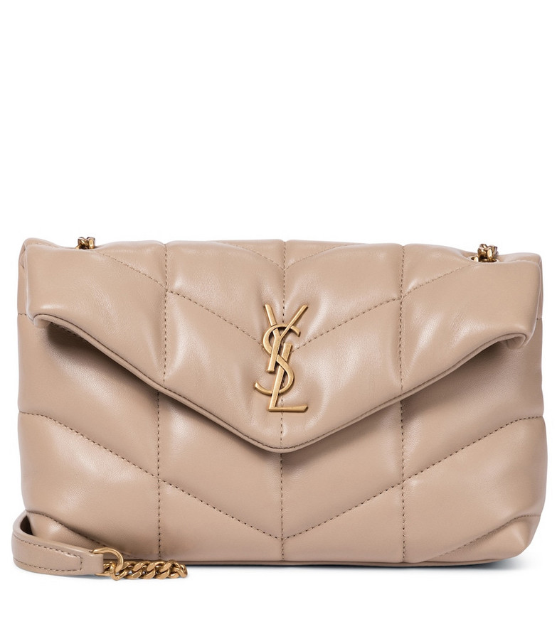 Saint Laurent Loulou Puffer Toy leather shoulder bag in beige