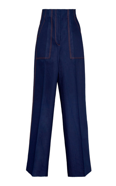 Boontheshop Collection Front And Back Pleat Cotton Cargo Pants Size: S in navy