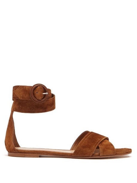 Gianvito Rossi - Aiden Wrap Around Suede Sandals - Womens - Tan