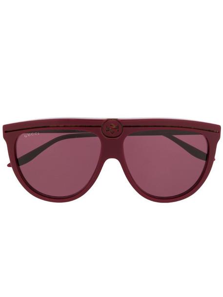 Gucci Eyewear aviator frame sunglasses in red