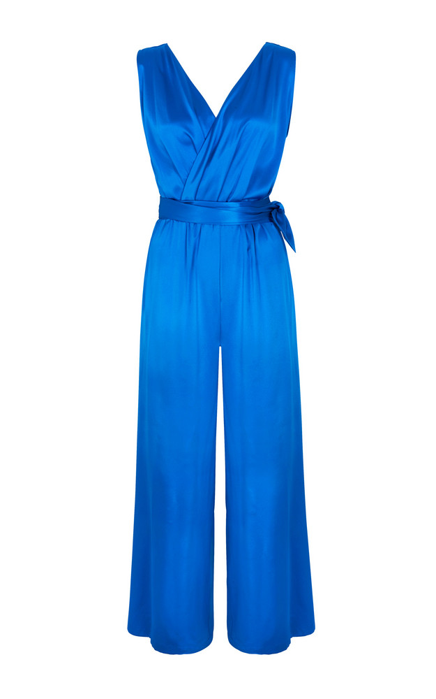 PAPER LONDON Takana tied waist Jumpsuit in blue