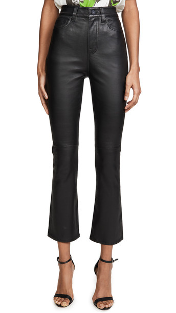 7 For All Mankind High Waisted Leather Slim Kick Jeans in black