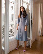 dress,midi dress,mules,puffed sleeves,elegant dress,long sleeve dress,turtleneck dress