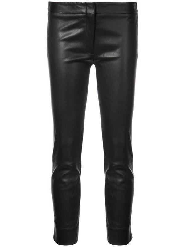 Derek Lam Leather Drake Crop Trouser in black