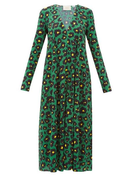 La Doublej - Trapezio Floral Print Crepe Midi Dress - Womens - Green Print