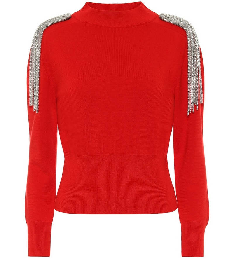 Christopher Kane Embellished cotton sweater in red