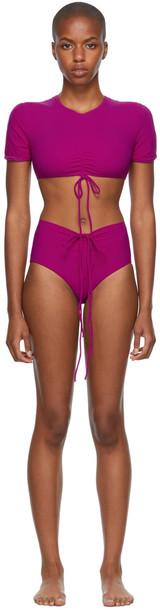 Christopher Esber Pink Ruched Crop & Odessa Bikini