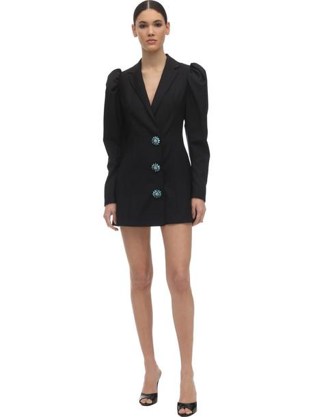 ROTATE Embellished Wool Blend Blazer Dress in black
