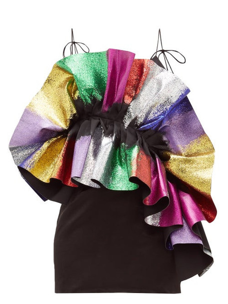 Germanier - Glitter Ruffle Satin Slip Dress - Womens - Black Multi