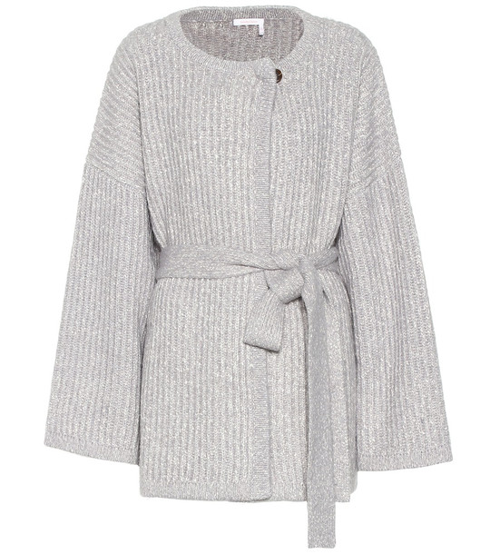 See By Chloé Cotton and wool-blend cardigan in grey