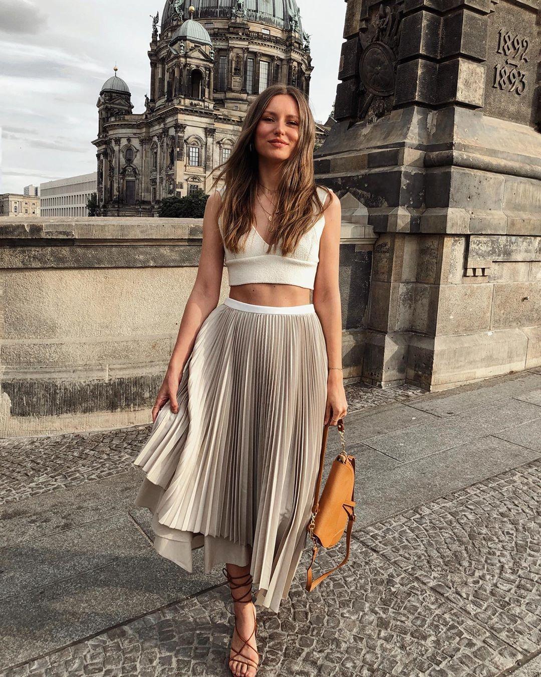skirt pleated skirt sandal heels crop tops bag
