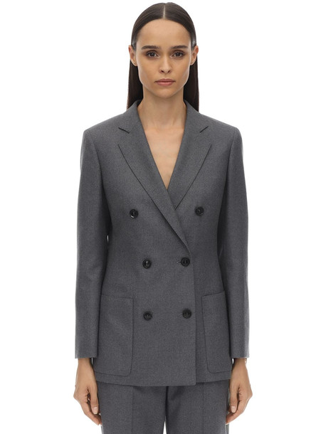 AGNONA Double Breasted Virgin Wool Blazer in grey