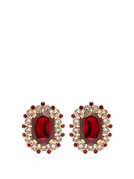 Dolce & Gabbana - Crystal Stud Clip Earrings - Womens - Red