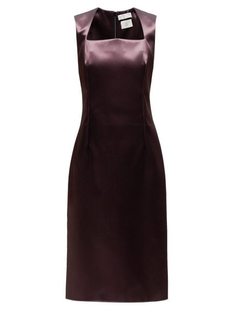 Bottega Veneta - Square Neck Satin Midi Dress - Womens - Burgundy