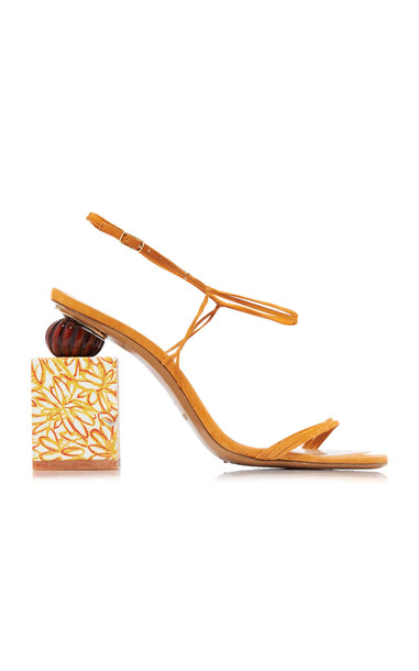 Jacquemus Elme Printed-Heel Leather Sandals Size: 36 in orange