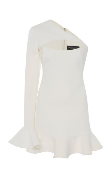 David Koma One-Shoulder Crepe De Chine Mini Dress in white