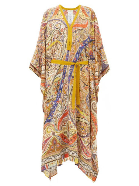 Etro - Handkerchief-hem Paisley-print Crepe Kaftan - Womens - Beige Multi