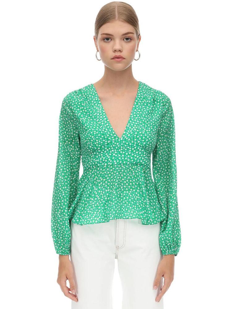 RIXO Printed Silk & Viscose Shirt in green