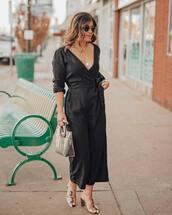 jumpsuit,sandals,transparent  bag,casual,long sleeves,black jumpsuit