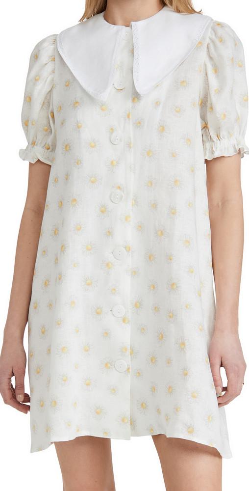 Sleeper Marie Linen Dress In Daisies in white / yellow
