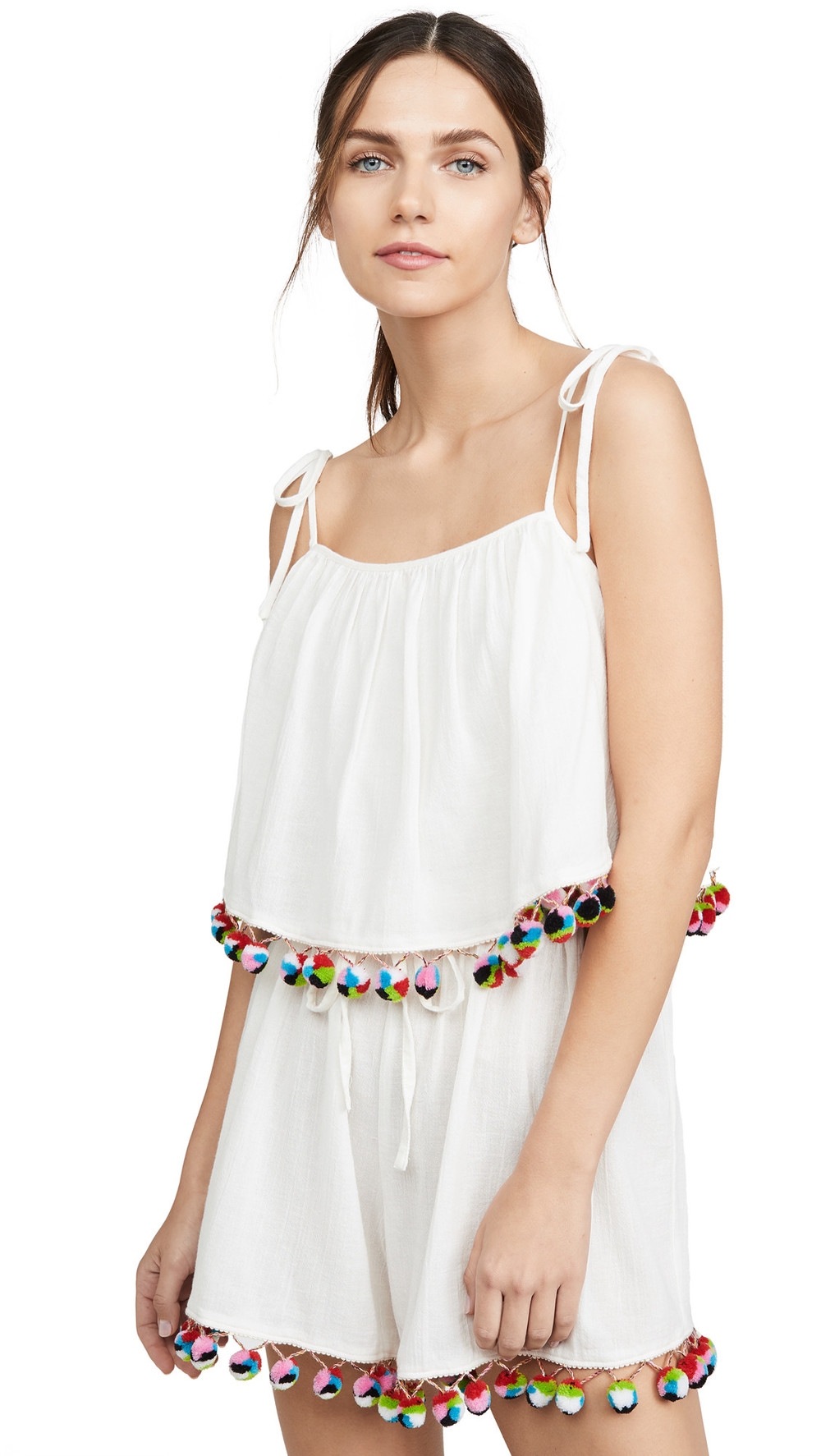 Madewell Tiered Tie Strap Romper in ivory