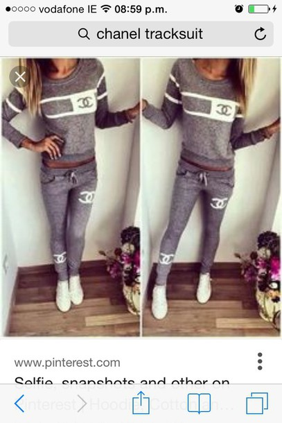 sweater coco chanel sweater grey