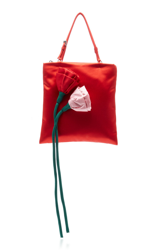 Prada Flower Embellished Raso Mini Top Handle Bag in red