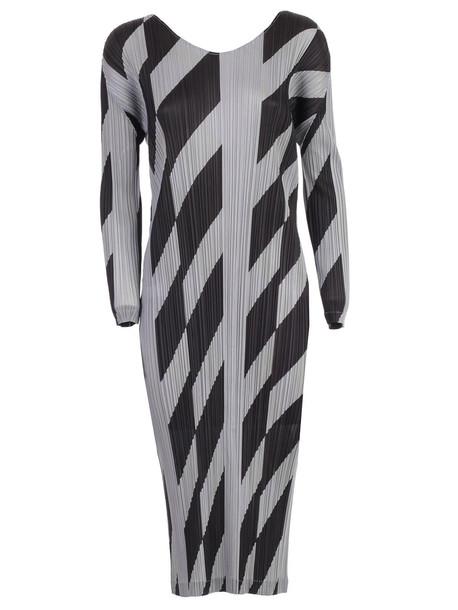 Pleats Please Issey Miyake Dress L/s Crew Neck Diagonal Lines in black