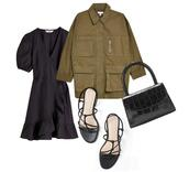 carolines mode,blogger,jacket,shoes,top,bag,army green jacket,black dress,handbag