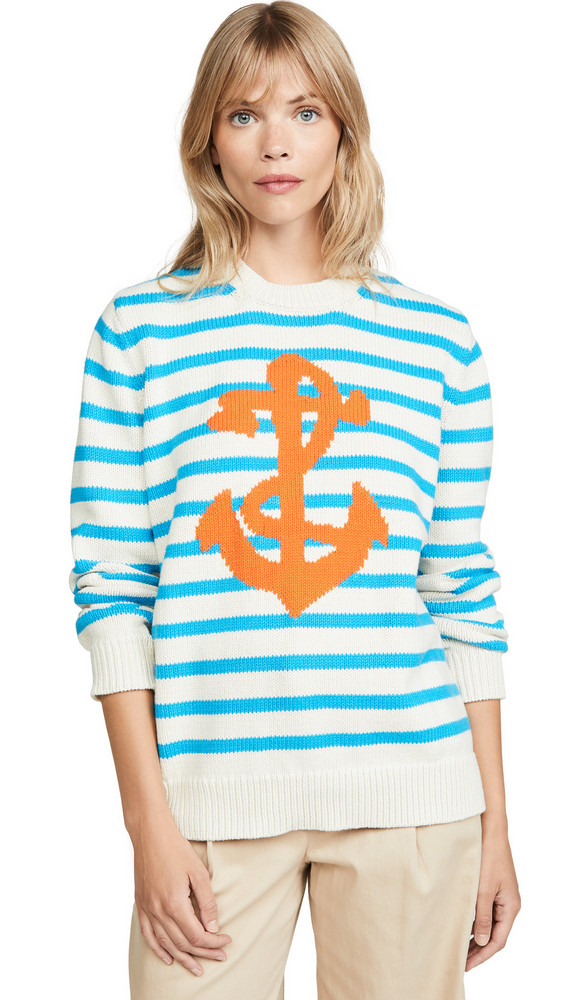 Chinti and Parker Chunky Anchor Sweater in navy / cream / red