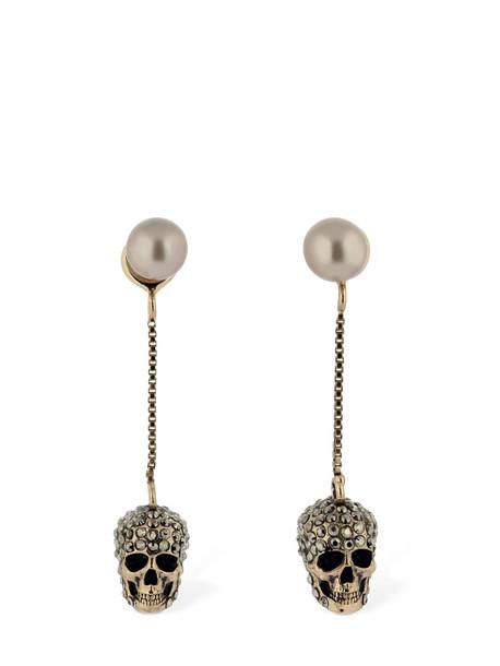 ALEXANDER MCQUEEN Pave Skull Earrings in gold