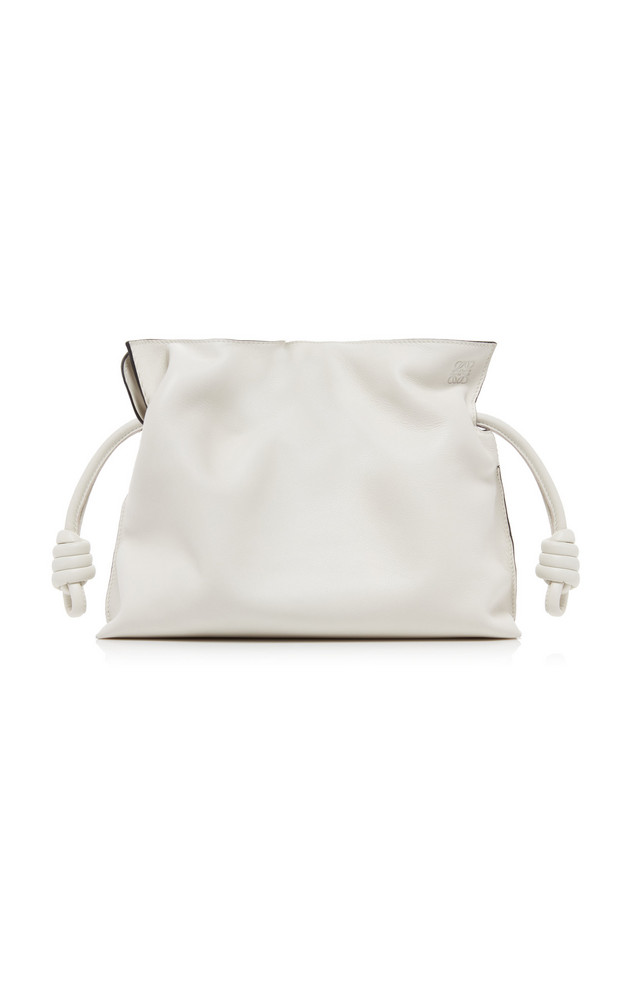 Loewe Flamenco Knot Drawstring Leather Clutch in white