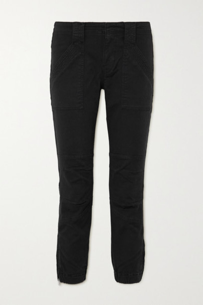 FRAME - Paneled Stretch-cotton Tapered Pants - Black