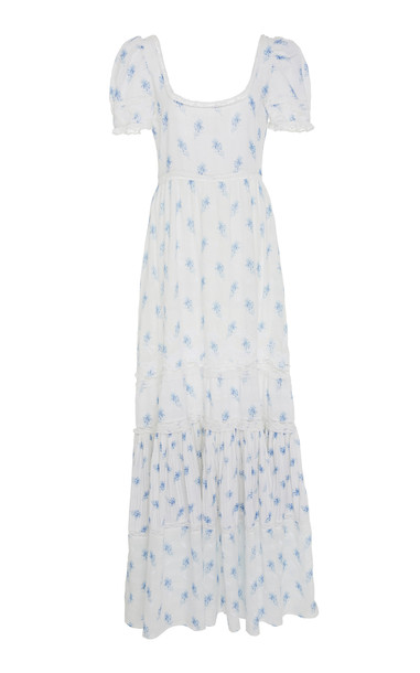 LoveShackFancy Ryan Floral-Print Cotton-Voile Maxi Dress in white