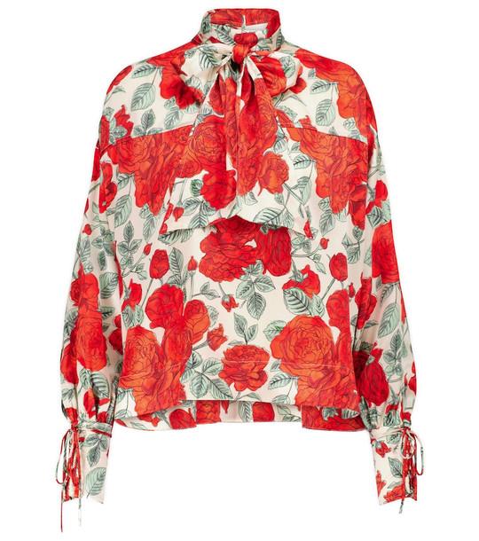 Ganni Floral stretch-silk turtleneck blouse in red