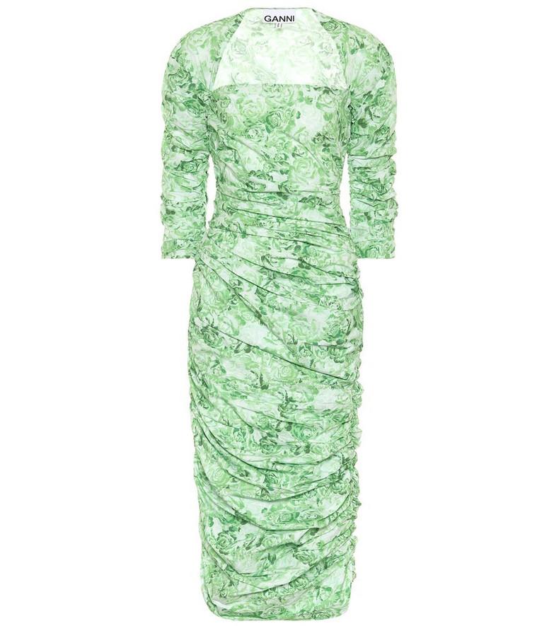 Ganni Floral cotton-poplin midi dress in green