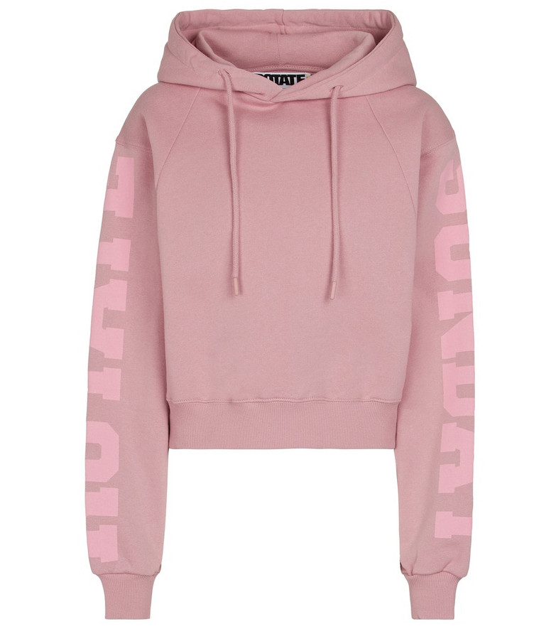 ROTATE BIRGER CHRISTENSEN Viola cropped organic cotton hoodie in pink