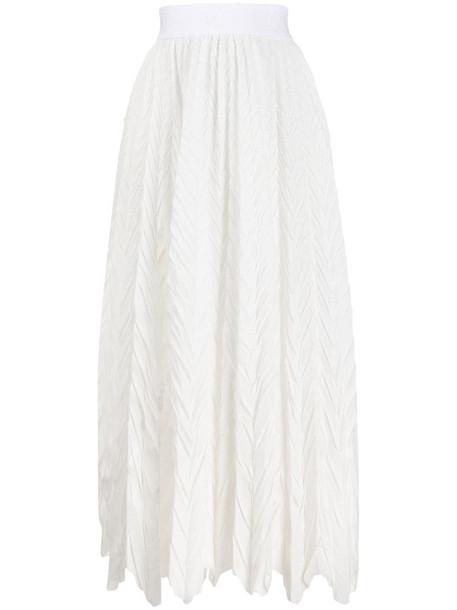 Emporio Armani crinkle effect midi skirt in white