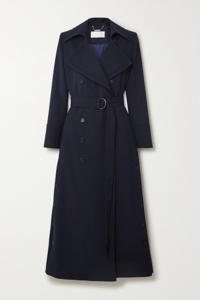 Chloé Chloé - Belted Double-breasted Twill Coat - Navy