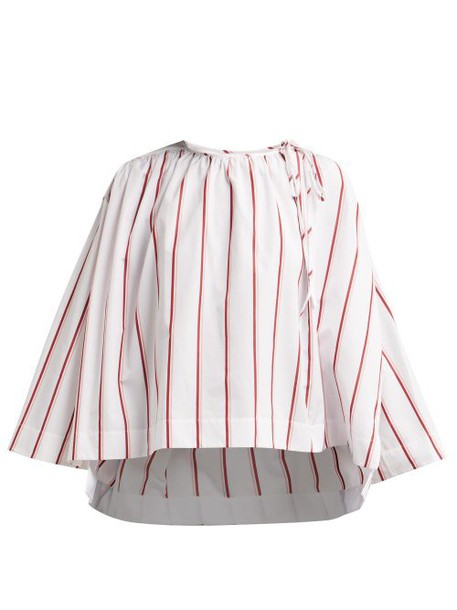 Calvin Klein 205w39nyc - Fluted Sleeve Striped Cotton Blouse - Womens - White Multi