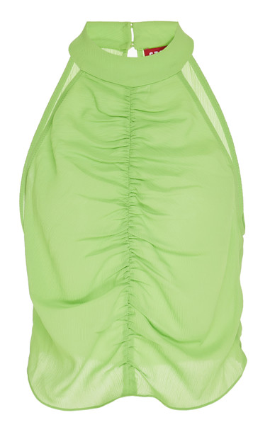 Staud Tahlia Ruched Gauze Halter Top Size: 00 in green